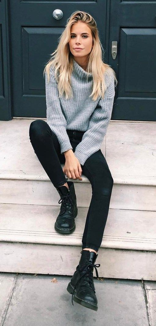 fall outfit idea: knit + skinnies