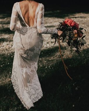 lisa lace open back long sleeve wedding dress // dreamers & lovers // bohemian
