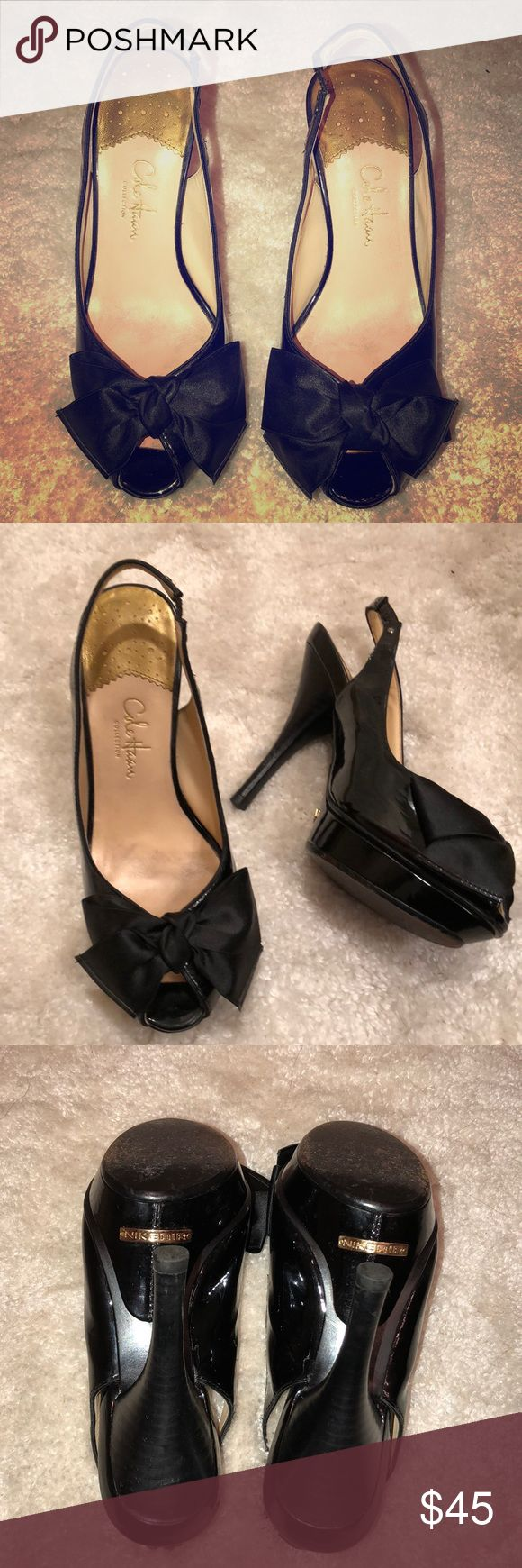 👠Cole Haan Black Patent Peep-Toe Heels  🎀 Cole Haan Nike-Air black peep-toe sling back pumps adorned with a cute satin bow. Classy shoe with a sexy elegant twist. Don't let the heel height fool you. These lovely shoes are super comfy yet very stylish.  * WILL SHIP NEXT BUSINESS DAY* Cole Haan Shoes Heels