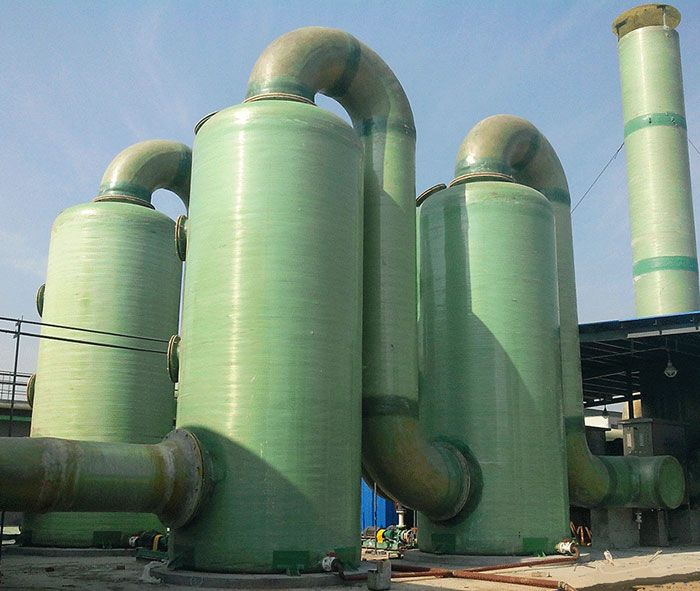 The Fiberglass Desulfurization Tower Makes The Flue Gas Directly Impact The Water Surface To Save Water And Reduce P Fiberglass Storage Storage Tank Fiberglass