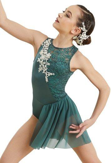 b77608467add Lace Applique Half Skirt Leotard