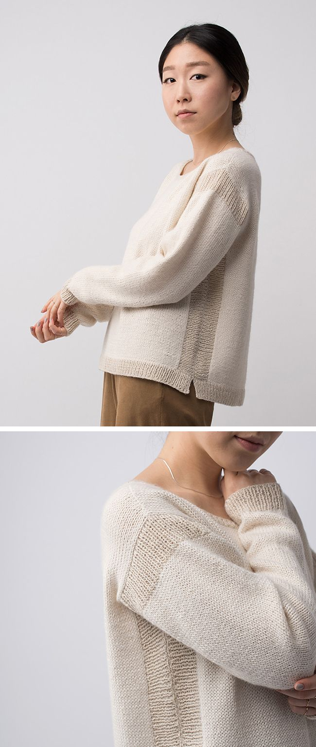 Cosy sweater with contrasting knit trim; contemporary knitwear details // Shibui Fall 2015