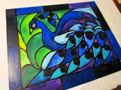 DIY 'stained glass': Faux Stained Glasses, Kitchens Window, Projects, Idea, Stainedglass, Stainglass, Acrylics Paintings, Diy, Peacock