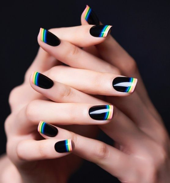 Eye-Catching #blacknails #rainbow #manicure #frenchtips #nails