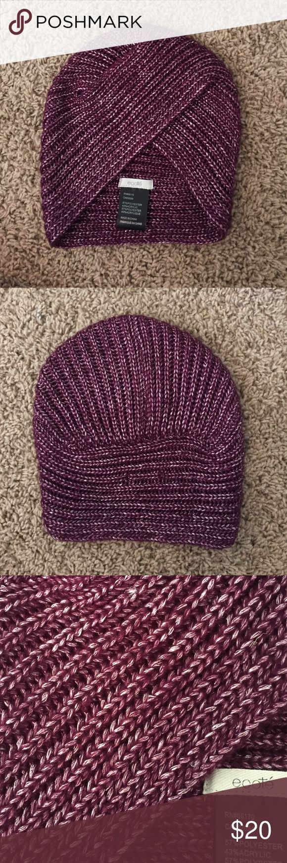 Turban winter hat Knit turban purple winter hat with slight shiny detailing never worn but tags are off // willing to negotiate price Ecote Accessories Hats