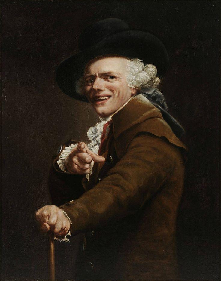 Joseph Ducreux.  - Figuratief. - Gedetailleerd. - Portret. - En profil. - Blikrichting: Vooruit. - Houding: Open, trots. - Kleding: Chique. - Accessoire: Hoed.