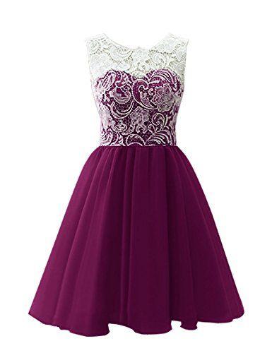 MicBridal® Kurz Chiffon Spitze Ballkleid Blumenmädchenkleid für Damen und Mädchen Weinrot ca. Alter 2