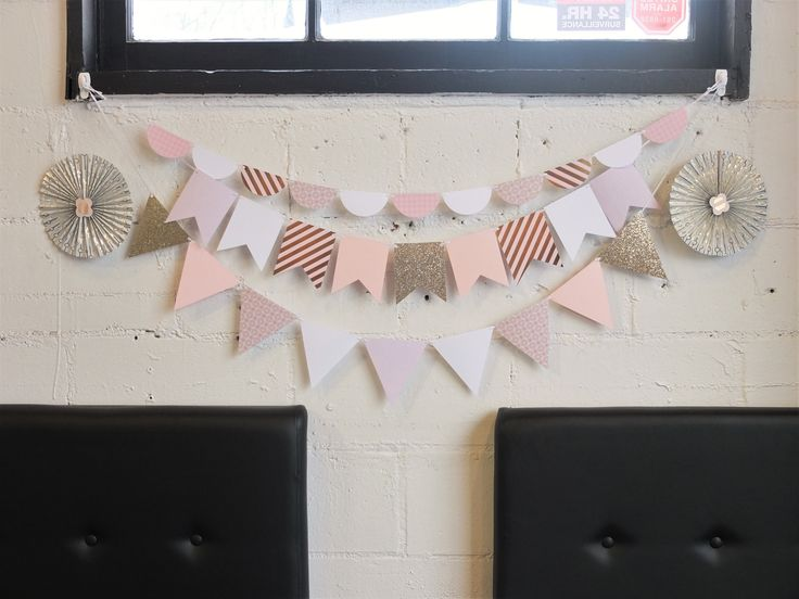 Blush and gold baby shower decor.   Custom paper garlands made to order. Perfect for birthday parties, showers, weddings, special occasions, and room décor. Quality cardstock in your choice of colours, patterns, shapes and sizes.