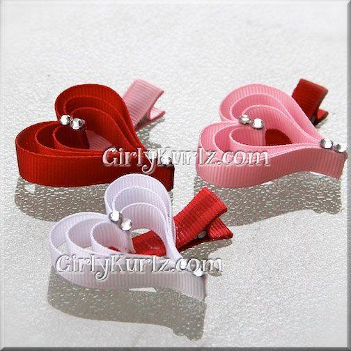Valentine's Heart Clippies Valentine Hair Clip Valentine Hair Bow Pink Red White
