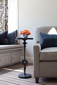 Good color scheme - Navy blue, gray, poppy/coral/orange -Home Decor
