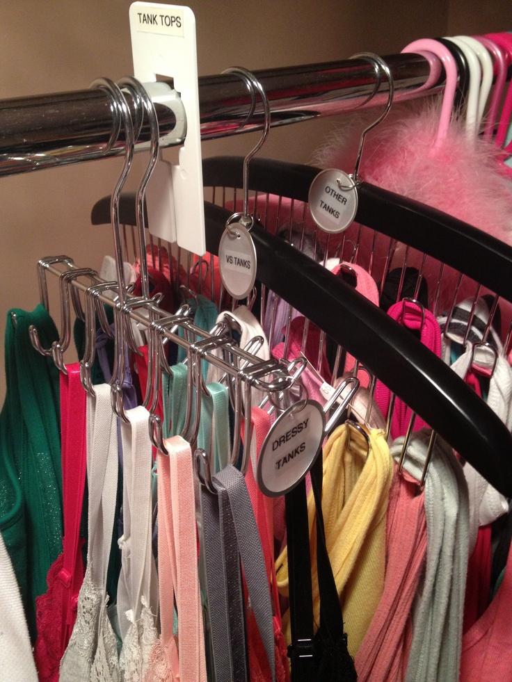 DIY Tank Top Organizer : belt hanger + key tags for labels... so easy & space saving!!