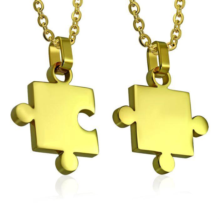 Puzzle partnerské přívěšky - pozlacené