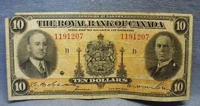1935 The Royal Bank Of Canada 10 Dollar Note |