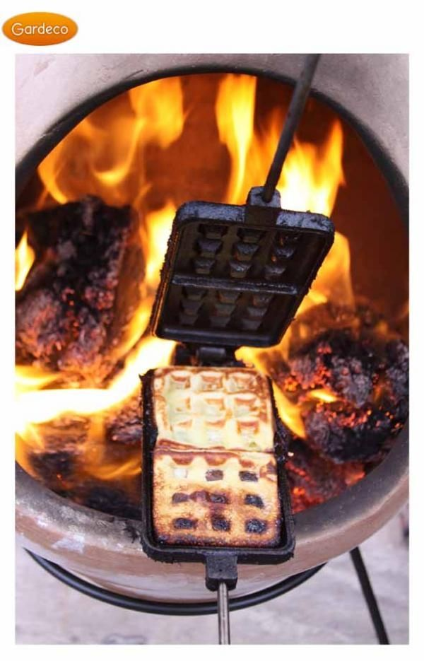 Waffles made fresh in the chimenea - delicious al fresco breakfast!  Get your garden kitted out and ready for summer with our outdoor living range. We take a look at some of our favourite products to inspire in our latest blog post...  #outdoor #living #garden #decor #bbq #summer #lifestyle