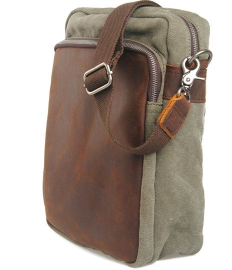 BACKPACK Genuine Cow Leather Men's leather bag canvas by MUSE2013