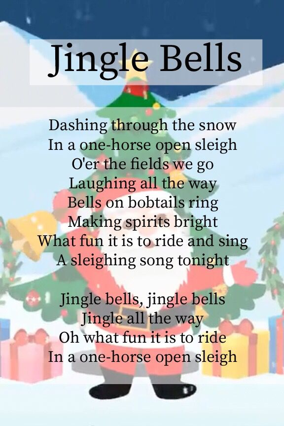 Lyrics To Jingle Bells Christmas Nursery Rhymes Christmas Songs Lyrics Christmas Carols For Kids
