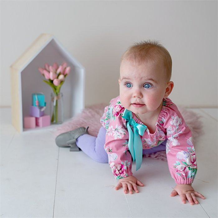 """""""Circa in Pink"""" Long Sleeve Romper Sizes 0000-2 