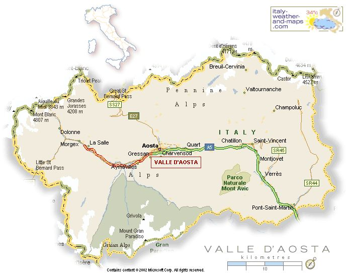 Aosta Valley | Aosta Valley: Map