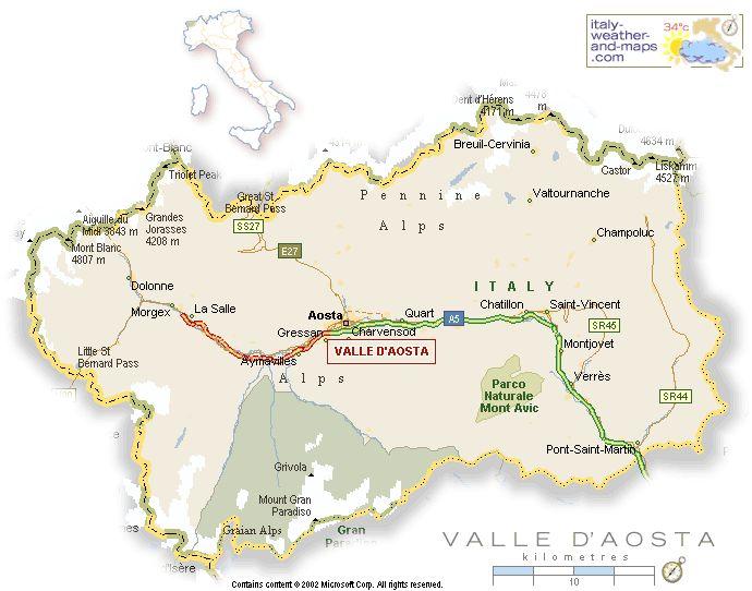 Aosta Valley | Aosta Valley: Map