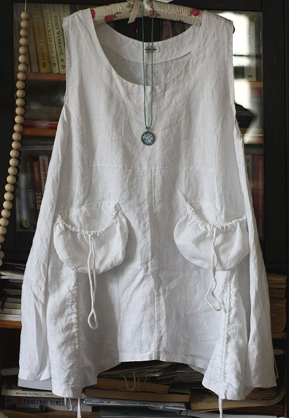 Vintage linen tunic dress natural linen by GreenHouseGallery