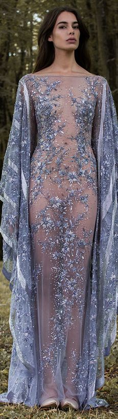 Paolo Sebastian 2016/17 Autumn Winter - Gilded Wings. #blue #dress