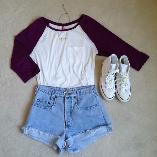 light denim high-wasted cut-off shorts + white  plum baseball tee + high top white Converse shoes.