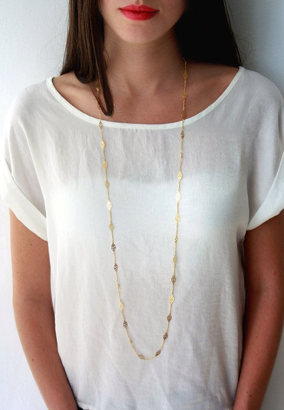 Gold chain, gold necklace, long necklace, flower necklace, delicate necklace, double necklace on Etsy, $60.00