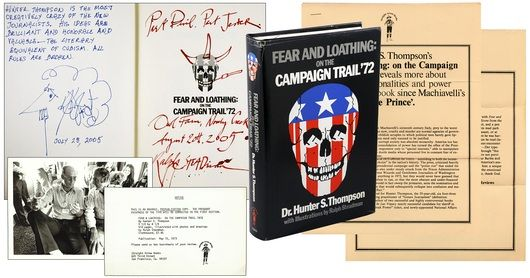 Review Copy  Signed and illustrated by Ralph Steadman  Signed and illustrated by Kurt Vonnegut  Author photo, five pages of publicity, review slip, and McGovern promissory  note