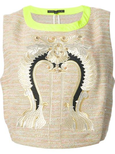 Yohan Kim Embroidered Tweed Top