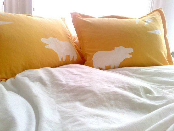 organic pillow sham - shouting hippo design on saffron