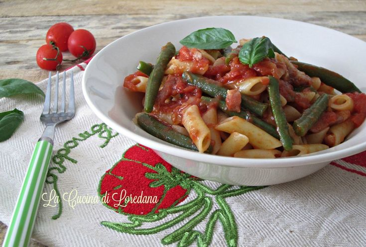Pasta+con+fagiolini+al+pomodoro