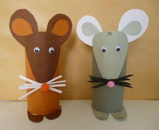 Ratos com rolos de papel higiênicos.