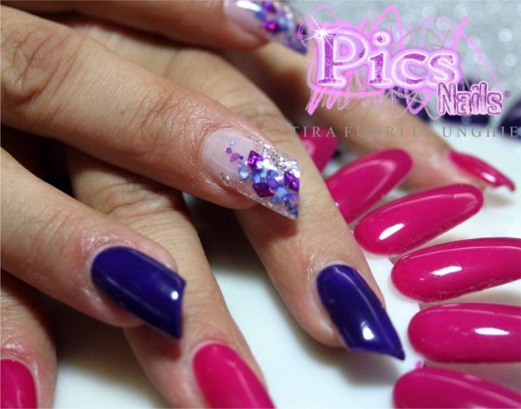 Unghie Bicolore: taglio obliquo e Nail Art Sottovetro per questa ricostruzione unghie Pics Nails!