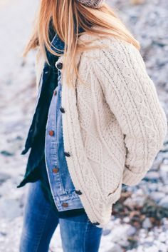 Denim jacket layered under chunky knit = cozy fall perfection