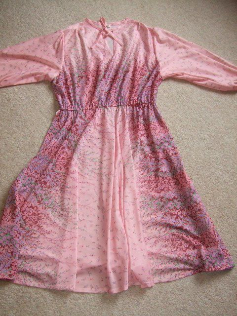 vintage retro 80s 70s pink floral pussy bow dress geek secretary 14 12 42 poly