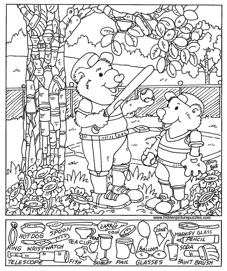 baseball hidden picture coloring page