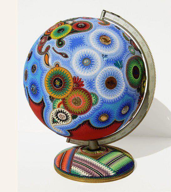 Crocheted (beaded?) Globe, artist unknown