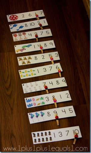 Preschool Center: Clothespin cards for counting. Could easily be adapted to word work, alphabet recognition, etc.