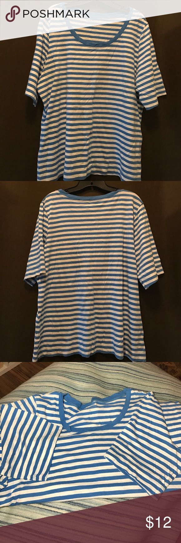 """LLBean blue and white sailor t-shirt ⚓️⚓️Classic LLBean sailor Tahiti in blue and white. Too small for me, more a 1X size. Sleeves are short above elbow and mid back is approx 26"""" long.⛵️⚓️ L.L. Bean Tops Tees - Short Sleeve"""