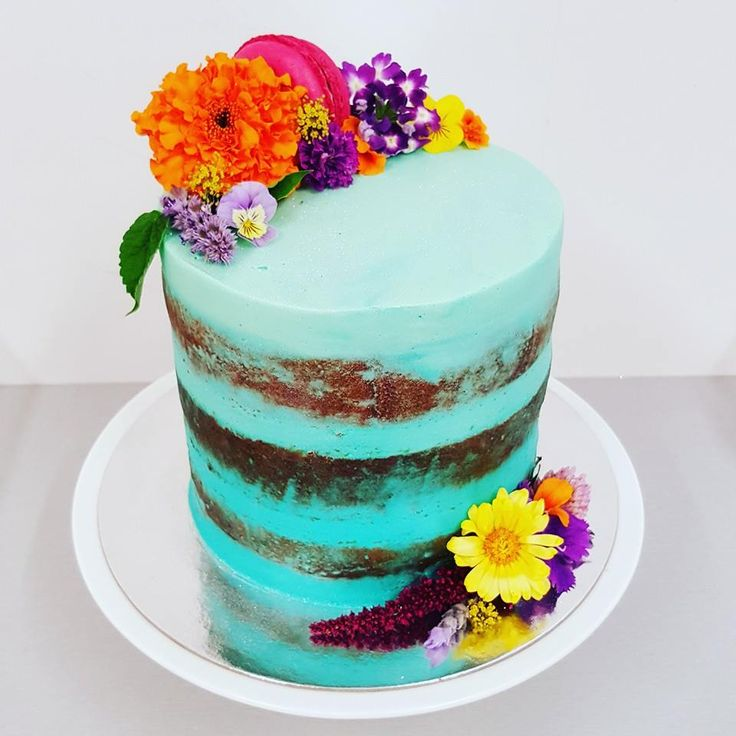 Blue Naked Cake with Edible Flowers