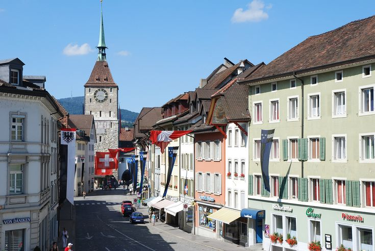 The old CLOCK TOWER in Aarau, Switzerland.