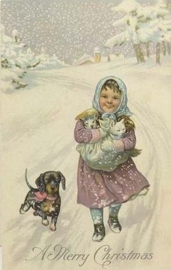 Girl with Dachshund and kittens. Vintage Christmas postcard on pinterest.com