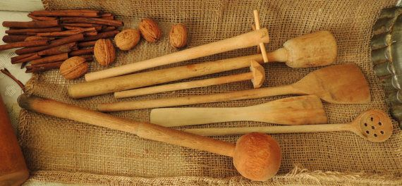 Vintage Kitchen Utensils Wooden Spoon Pestle Masher Paddle