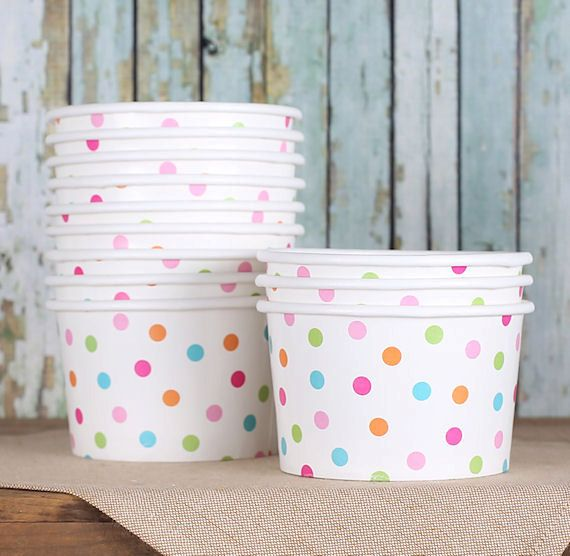 Rainbow Polka Dot Ice Cream Cups Paper Ice by thebakersconfections