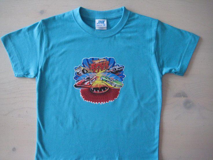 Turqoise t-shirt met opdruk van hot wheels in full color
