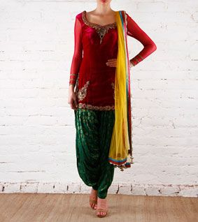 Nice combo: Preeti Singhal: Magenta & Green Velvet Patiala Salwar Kameez With Zardozi