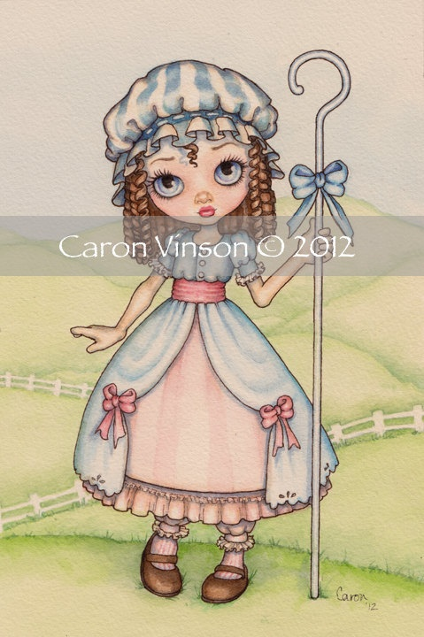Original Watercolor Painting Little Bo Peep by CaronVinson on Etsy, $45.00