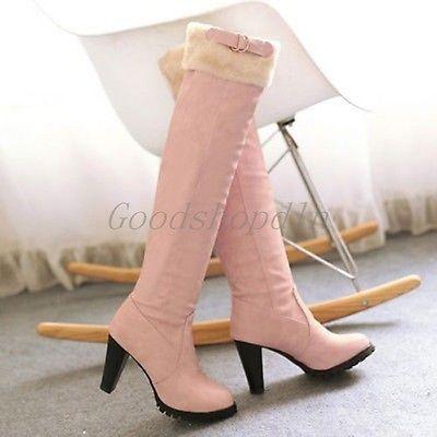 Womens-Fur-Lined-Slip-On-Over-The-Knee-Snow-Boots-Block-Heel-Shoes-heifenxing