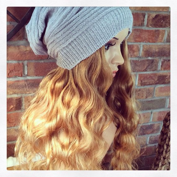 Grey slouch beanie with bespoke Human hair body waved by Headshigh