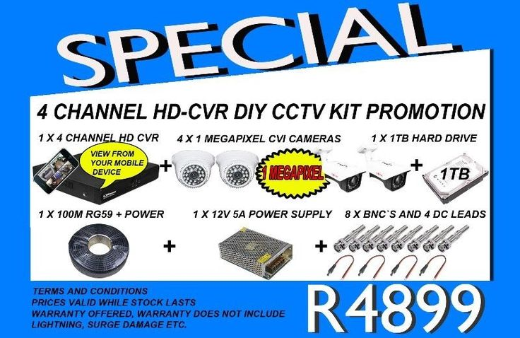 We are running a promo on our HD CVR CCTV KITSit includes:4 x CVI 1 MEGAPIXEL CAMERAS1 X HD CVR RECORDER1 X 100M RG59 CABLE FOR SIGNAL AND POWER1 X 1TB HARD DRIVE FOR RECORDING SPACE1 X 5 AMP 12 VOLT POWER SUPPLY8 X BNC CONNECTIONS AND DC LEADSSCREEN AND INSTALLATION NOT INCLUDEDTHERE IS ALSO THE OPTION OF SETTING THIS UNITSO THAT IT CAN BE VIEWED FROM A LAPTOP OR MOBILE DEVICE,*DEPENDENT ON YOUR CURRENT INTERNET SETUP,